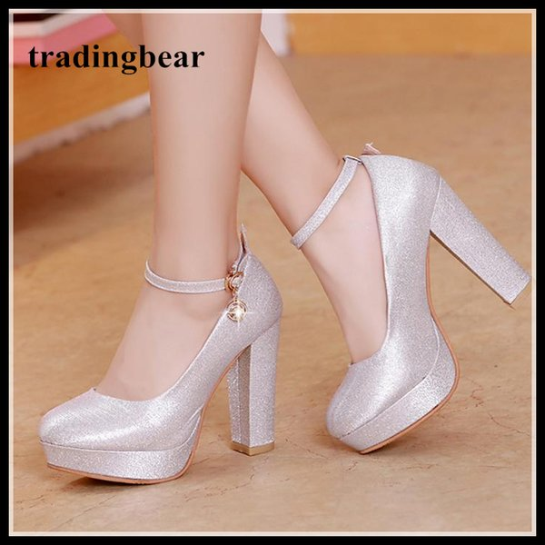 e61c4b2bef Silver platform chunky heel ankle strap wedding shoes glitter pumps  bridesmaid party prom wear big size 34 to 40 41 42