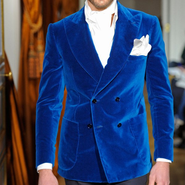 Two Piece Royal Blue Velvet Evening Party Men Suits 2018 Classic Style Double Breasted Wedding Groom Tuxedos Jacket Black Pants