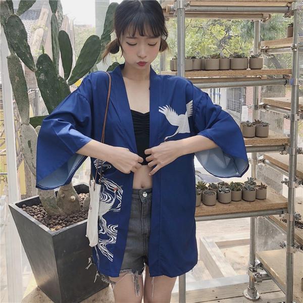 Women Jackets Retro Japanese Harajuku Style Jacket Kimono Print Chiffon Cardigan Fashion Summer Sunscreen Clothes shein
