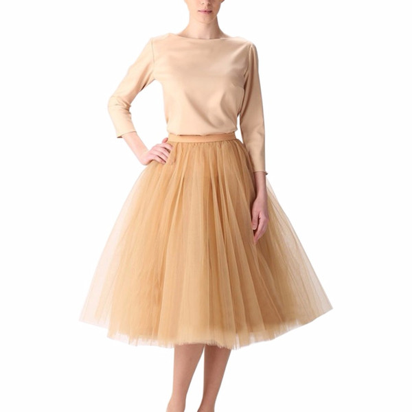 bb131c5a8a Vintage Gold Puffy Women Tulle Skirts 2017 Knee Length Female Tulle Skirt  Plus Size Midi Tutu Adult Skirt High Quality Faldas