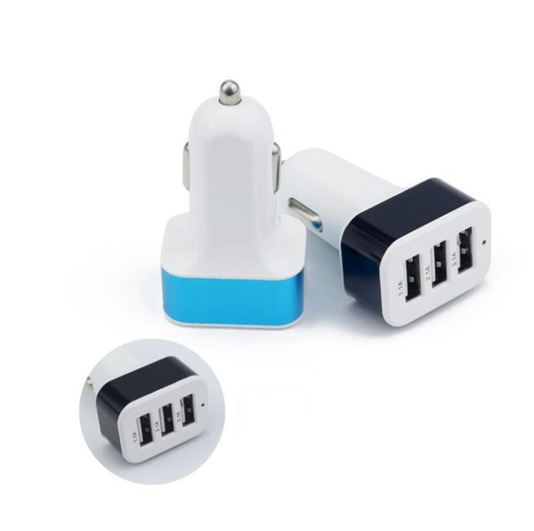 For iPhone X 8 Car Charger Travel Adapter Car Plug Hot Selling Triple 3 USB Ports Car Charger DHL Without Package