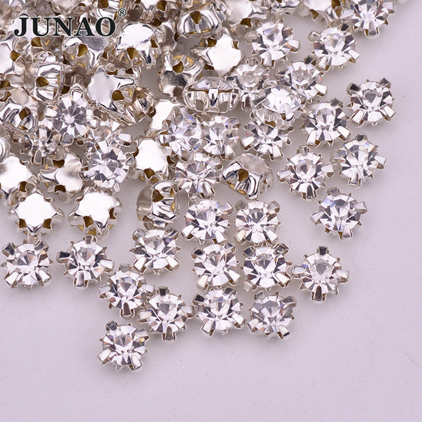 JUNAO 1440pcs SS12 3mm Sewing Clear Glass Crystals Claw Rhinestones Appliques Flatback AB Crystal Stones Silver Gold Strass For Clothes Bags