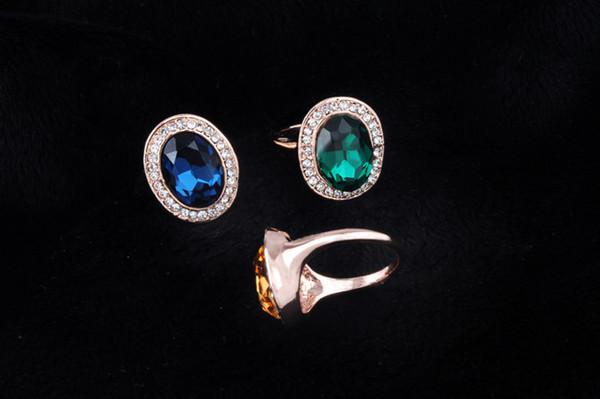 wedding ring woman men Luxury Engagement Ring 18K Rose Gold Plated Cubic Zirconia Swarovski Wedding Ring Set Austrian Crystal Gemstone Rings