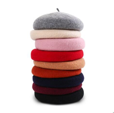 Wool Beret Female Winter Hats For Women Flat Cap Knit 100% Cashmere Hats Lady Girl Berets Hat Female Bone Tocas Painter Hat JN