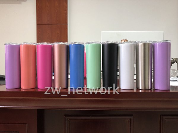 20oz stainless steel skinny tumbler with lid straw 20oz skinny cup wine tumblers mugs double wall vacuum insulated cup water bottle 20oz