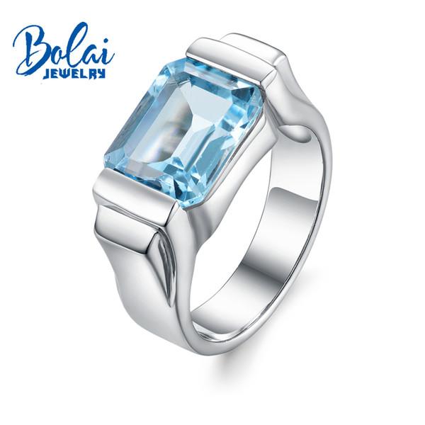 Bolaijewelry, topaze bleu ciel naturel Unisexe anneaux 925 fine bijoux en argent sterling pour les hommes ou les femmes engagement boîte de cadeau de Noël