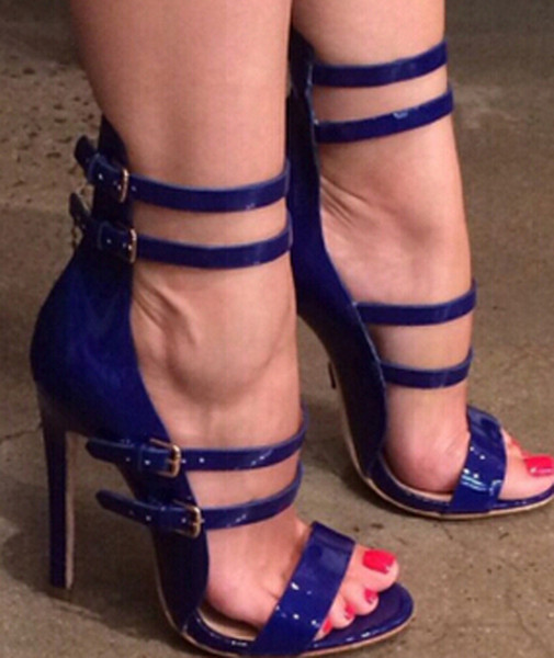 Women Sexy Patent Leather Red Blue Straps Stiletto Heel Gladiator Sandals Cut-out Shining Buckles High Heel Sandals Evening Club Dress Shoes