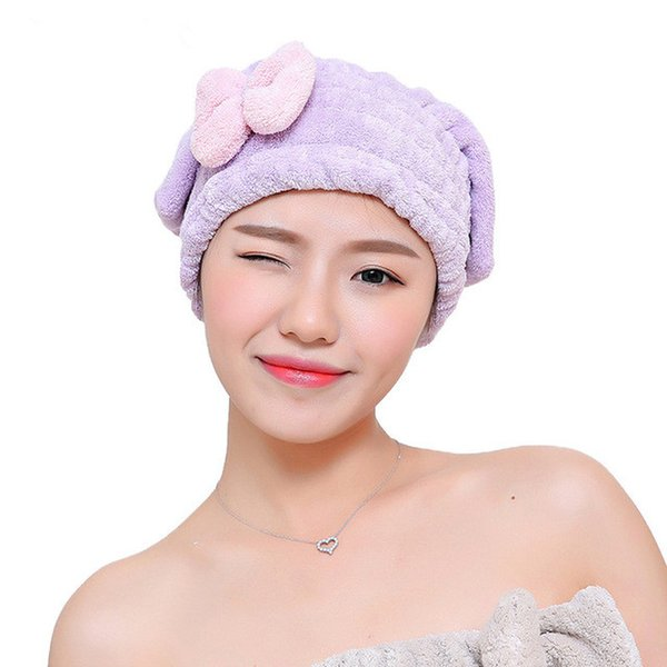HELLOYOUNG Bowknot Women Bathroom Absorbent Quick-drying Polyester Cotton Bath Towel Hair Dry Cap Head Wrap Hat Salon Towel BZ658