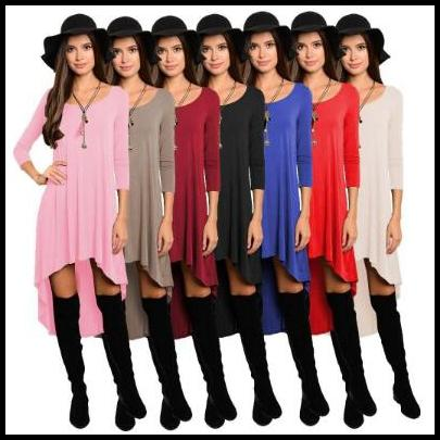 best selling 8 Colors Women Casual Dresses Loose Blouse Irregular Tops Asymmetrical Mini Dress Solid Long Sleeve Vestidos Women Clothing CCA8431 30pcs