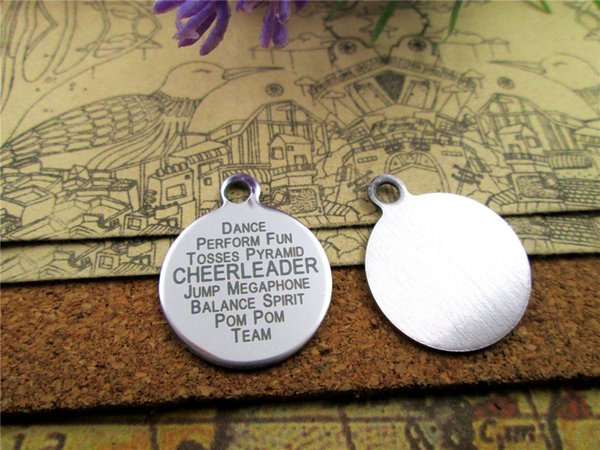 """20pcs--""""CHEERLEADER""""stainless steel charms more style for choosing DIY Charms pendants for necklace"""