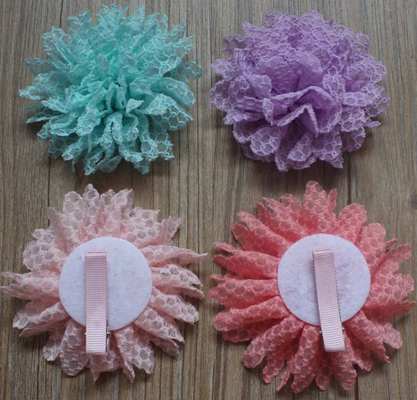 30pcs 8cm DIY Lace Fabric Flower with Lined Alligator Clip,Hair Clip Flower for Girls Hair Accessories,8 Colors to Choose