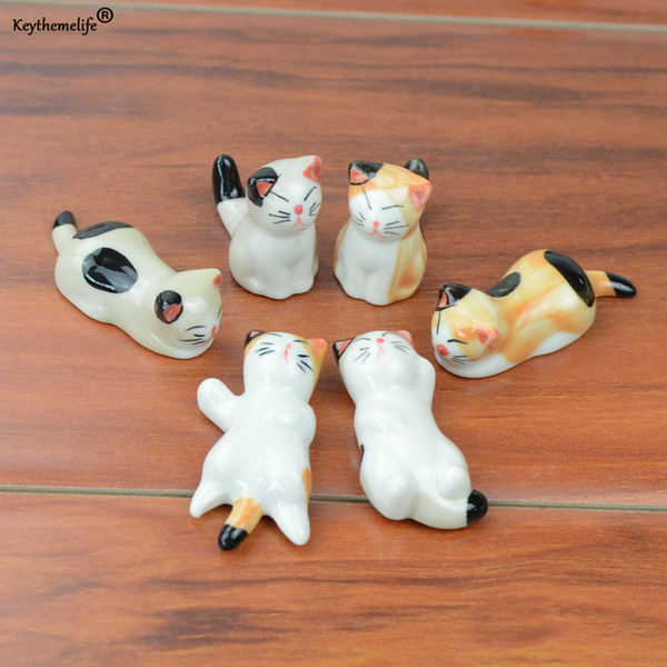 Keythemelife 4PCS Cartoon Cat Shape Chopsticks Holder Stand Ceramic Chopsticks Spoons Forks Holder Table Decor C