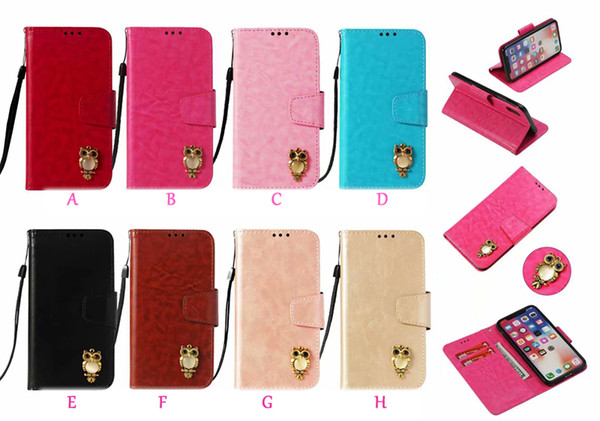 3D Owl Leather Wallet Case For Iphone XR XS MAX X 10 8 7 6 6s Galaxy Note9 S9 Vintage PU ID Card Slot Coque Flip Cover Retro Cartoon Strap