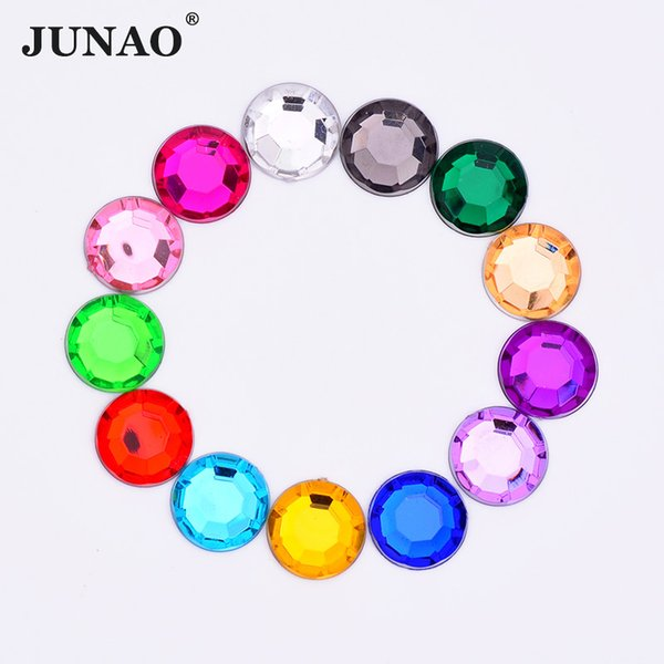 JUNAO 10mm Mix Color Round Crystal Rhinestone Flatback Acrylic Gems Clear AB Strass Beads Glue On Crystals Stones for Clothes