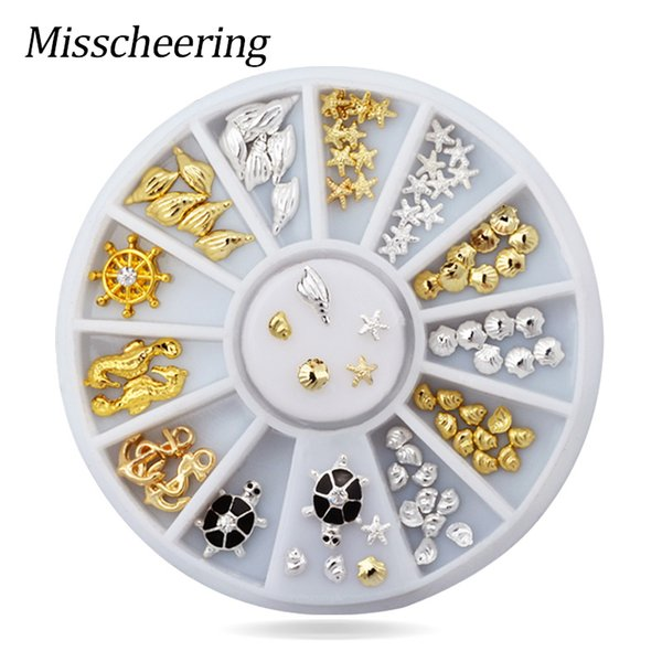 Gold Silver Ocean Series Mixed 3D Nail Decoration Shell Starfish Pattern Alloy Rivet Studs for DIY Nail Art Manicure in Wheel