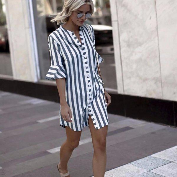 HAMBODER Women Horn Sleeve Striped Half Sleeve Tops Long T shirt women 2018 Casual 18july16