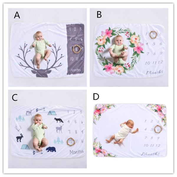 Xmas 76 * 102 cm neonato fotografia di scena puntelli bambino foto prop fleece floreale cervo stampato fondali infantile swaddle coperte avvolge morbido