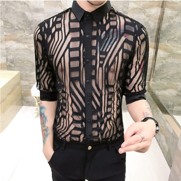 Mens Sexy Clothing Solid Color Casual Shirts Hollowed out Long Sleeve Male Night Shirt Free Shipping