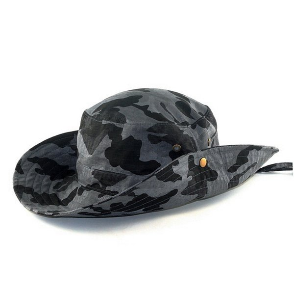 New Unisex Men And Women Outdoor Jungle Bucket Hat Outdoor Fishing Hunting Wide Boonie Cap Sun Protection Caps F231