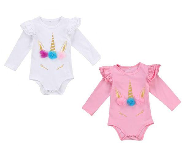 Güzel Yenidoğan Bebek Romper Çocuklar Bebek Kız Unicorn Romper Giysileri Uzun Kollu Ruffles Tulumlar Giysileri 2018 Yeni Sevimli Vücut Suit 2 renkler