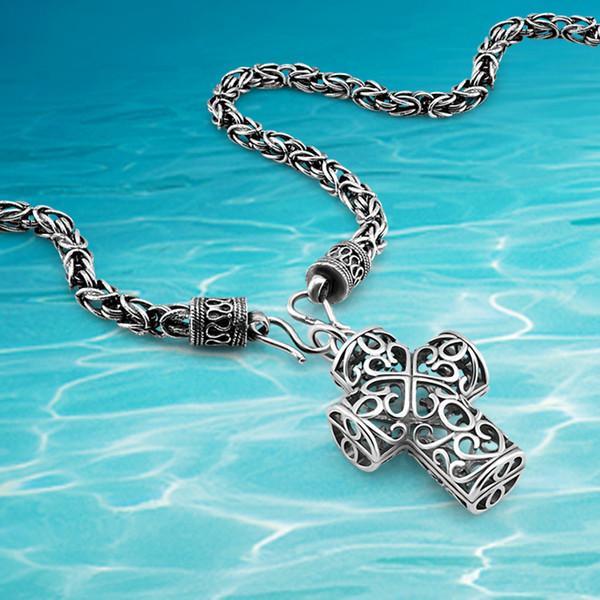 Arbeiten Sie 925 Sterlingsilberhalskette, hängende Halskette des Kreuzes, der Mannhalskettenpersity coole Mannschmucksachen der breiten 6mm Männer um
