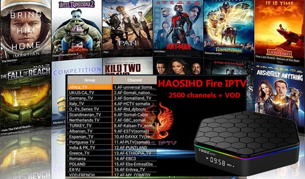 t95z plus amlogic s912 android 7.1 TV Box with1 year iptv subscription free 2500 plus Europe arabic africa usa streaming media player