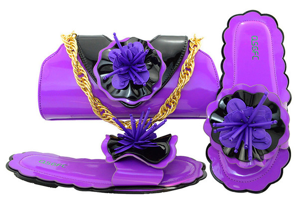 Wonderful purple low heel 0.5CM sandals with flower decoration african shoes match handbag set for dress MM1053