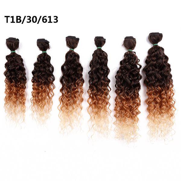 Moda 14-18 pulgadas Ombre Borgoña Rubio Tejido sintético Paquetes de pelo rizado Cose en Extensiones de cabello 6 unids / paquete