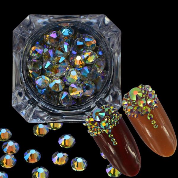 1 boîte 250pcs ongles strass cristal ciel étoilé coloré flatback diamant SS3-20 mixte bricolage charme décor Nail Art accessoire CH374