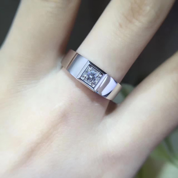 18K Gold Ring Test Positive 1Ct Single Stone Setting Lab-Created Moisssanite Diamond Simple And Noble Wedding Ring With A Certificate