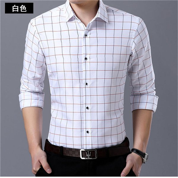 Young Man Plaid Blouse Korean Slim Tops 2018 Autumn High Quality Cotton Turn-down Collar Business Man Office Casual Shirt 4XL