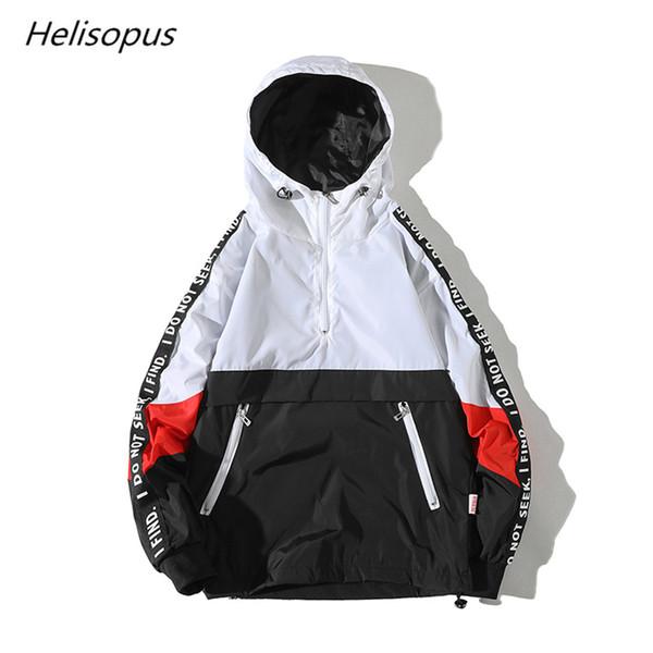 Helisopus Men's Hooded Casual Loose Jacket Fashion Hip Hop Streetwear Tracksuit Jacket Men's Patchwork Color Coat