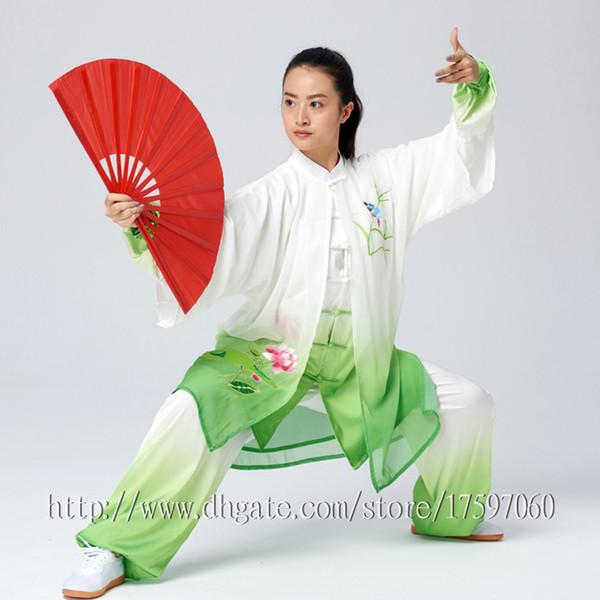 Abbigliamento cinese Tai chi Kungfu uniforme Tuta da concorso Taijiquan Abbigliamento da ricamo per donne