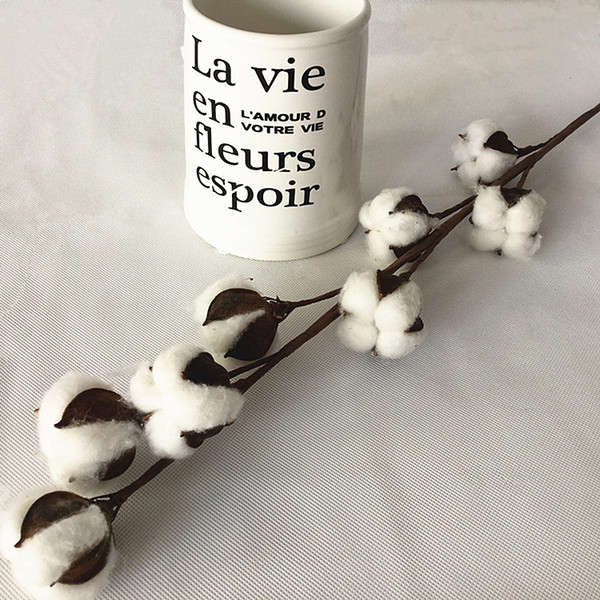 Decorative Dried Flower 8 Head Artificial Cotton Flower Stem 2pcs/lot 27.5 inches Drop Shipping