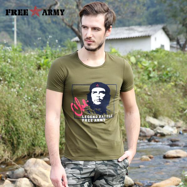 Homens do Exército livre Che Guevara T Shirt Dos Homens Da Marca de Manga Curta Camuflagem Verão T-Shirt Impresso Algodão Exército T Shirts Verde Masculino