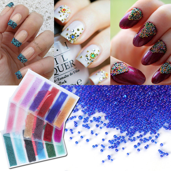6 grids/pack Round Mini Nail Art Caviar Beads Mixed Color 3D Nail Decorations Pearls Steel Studs Charm Tool Manicure LA706