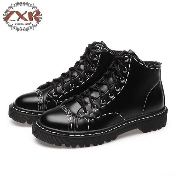 Mode Plus Größe Stiefel Lackleder Stiefel Frauen Schule Stil Schnürschuhe Für Mädchen Weibliche Schwarz Motorrad Knöchel
