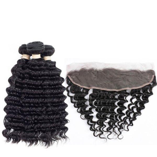 8A Grade onda profunda brasileña del pelo de la Virgen con el cierre frontal del cordón 13x4 Color natural del pelo profunda de la onda 3 paquetes con el frontal del cordón