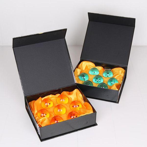 Nuova animazione DragonBall arancione blu 7 stelle circa 3,5 cm Super Saiyan Dragon Ball Z Set completo di giocattoli 7 pezzi / scatola
