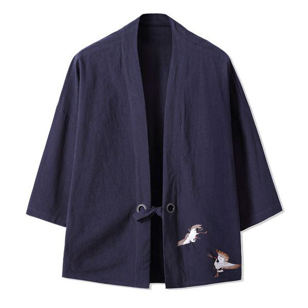 Chemises kimono pour hommes avec mélange de coton et lin devant devant ouvert