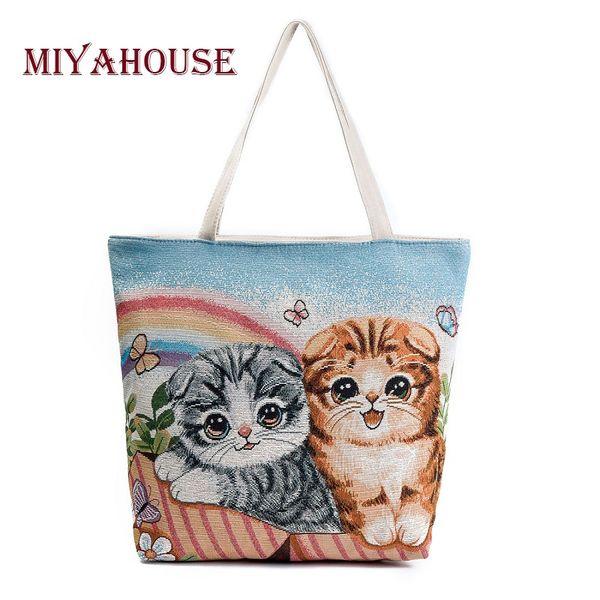 Miyahouse large Capacity Shoulder Bag Women Cute Cats Printed Canvas Handbag Shopping Bag Daily User Casual Tote Bags Female