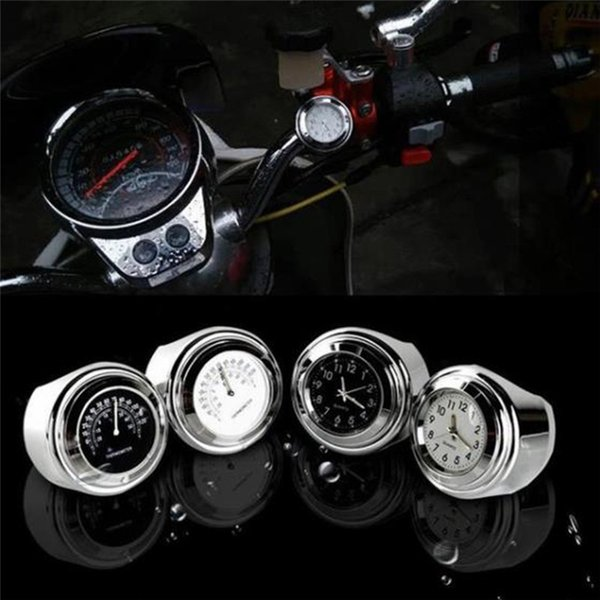 """Multi Style 7/8"""" Thermometer for Motorcycle Bicycle Motorcycle Handlebar Waterproof Black Dial Clock Temp"""