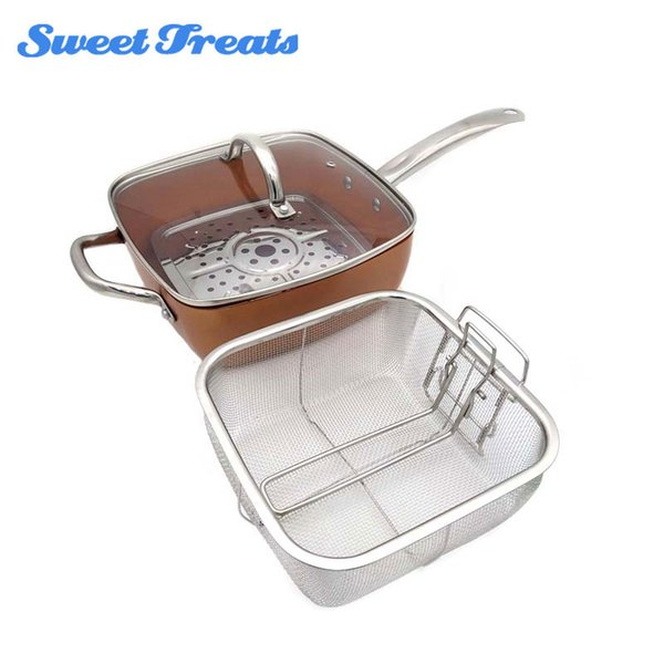 Sweettreats Copper Square Pan Induction Glass Lid Fry Basket With Stainless Steel Handle ,Steam Rack 4 Piece Set ,9 .5 Inches