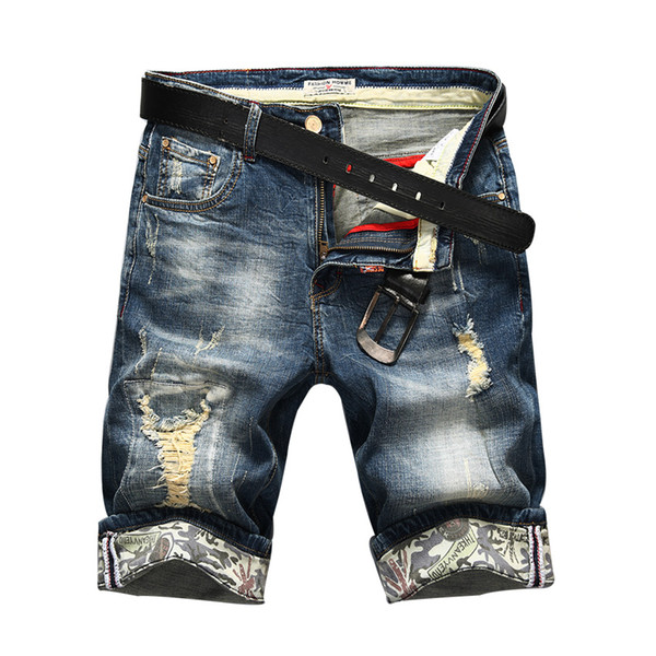 Hot Selling Summer Casual Thin Short Homme De Marque 2018 Korean Youth Mens Denim Shorts Elasticity Distressed Slim Jeans Men