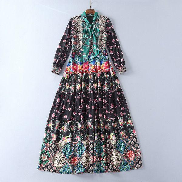 2018 Ladies Luxury Peony Print Ribbon Tied Bow Round Neck Long Maxi Dress Women Long Sleeve Fashion Elegant Dresses YX171012