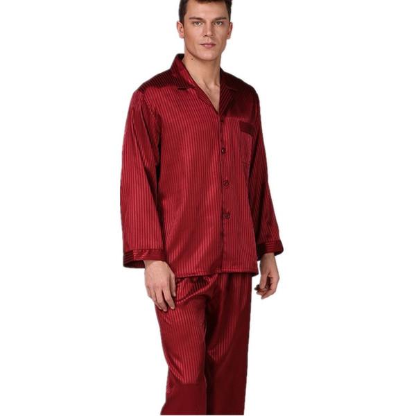2018 NEW Male Gentle Satin 2PCS Sleepwear Kimono Bathrobe Gown Spring Autumn Red Men Full Sleeve Pajamas Set Silky Home Wear
