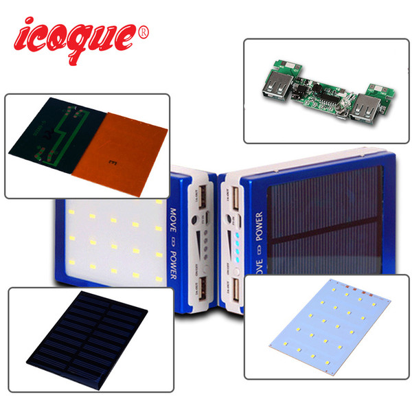 Universal Solar Power Bank 18650 Case DIY Box Phone Charger Dual USB Output with 20Pcs LED Without Battery 5x18650 Powerbank