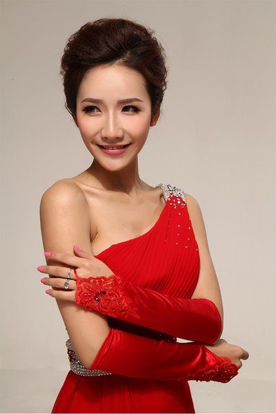 Wholesale supply wedding dress gloves big red satin fingerless embroidered beaded hand sleeve factory direct spot