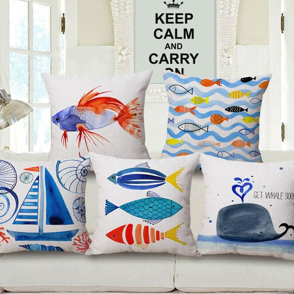 Cushion Covers in Ocean Theme Cotton Linen Blends in 6 Colors for Home Decoration Free Shipping