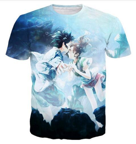 2019 New Fashion Women/Men Summer Style Clothing 3D Print Cartoon Romantic Spirited Away Funny T-Shirt Short Sleeve Hip Hop Tops Tees